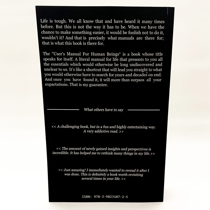 User's Manual For Human Beings Softcover english back